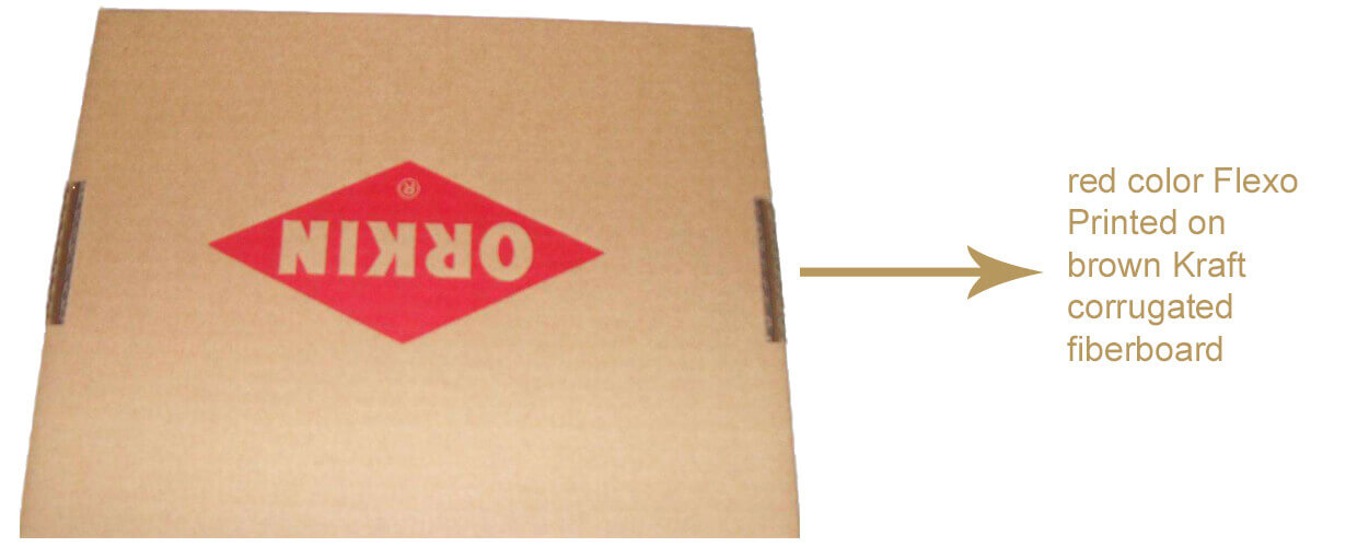 Red Color Flexo Printed On Brown Kraft Corrugated Fiberboard