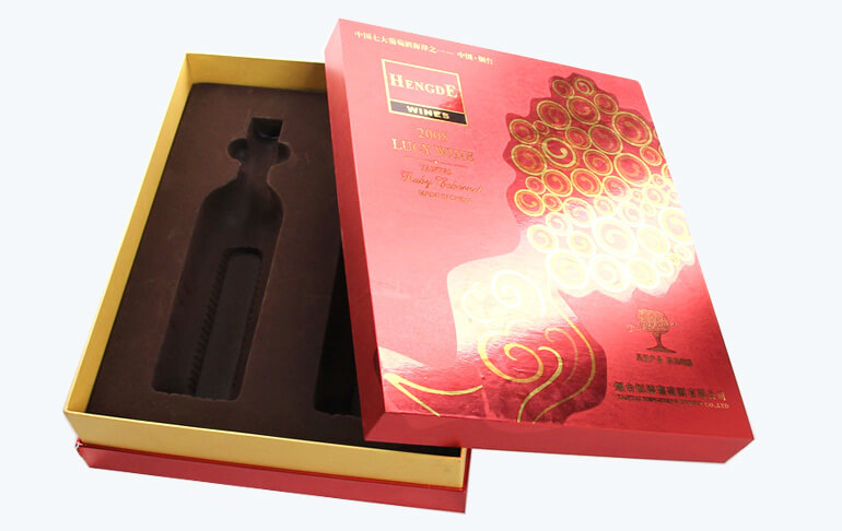 Red Color Two Pack Red Wine Paper Box