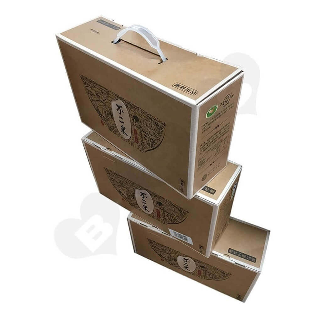 Rice Packaging Box With Handle Side View One