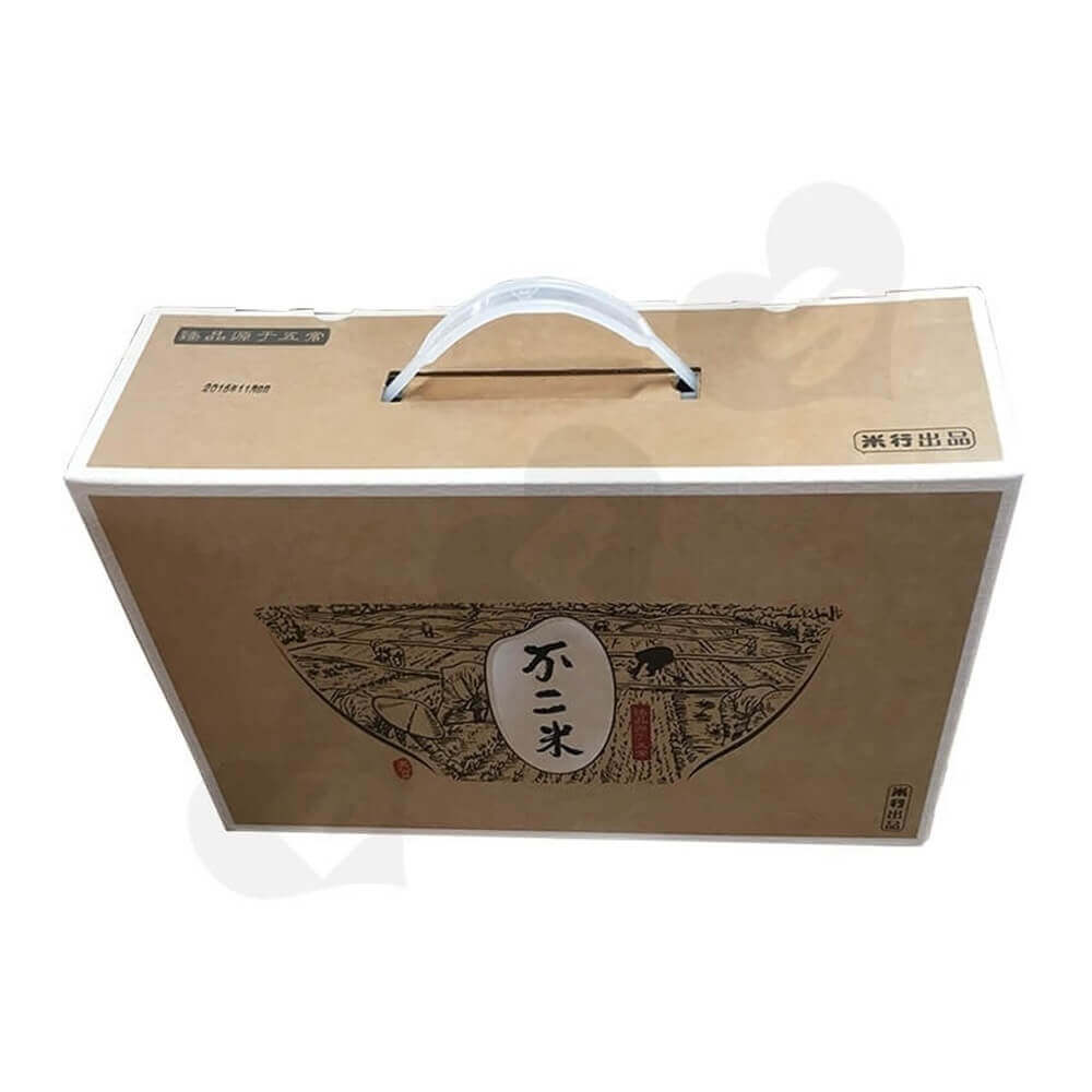 Rice Packaging Box With Handle Side View Two