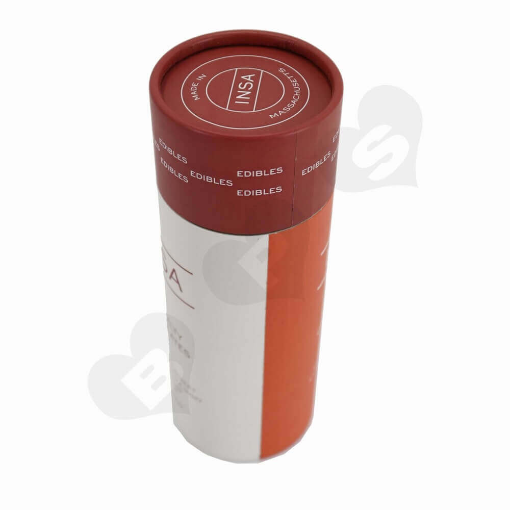 Round Cardboard Tube Cylinder Packaging For Snack Bar Side View Four