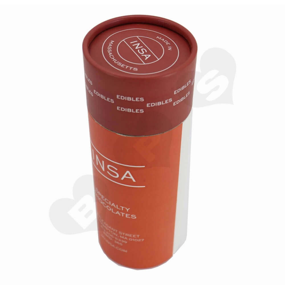 Round Cardboard Tube Cylinder Packaging For Snack Bar Side View One