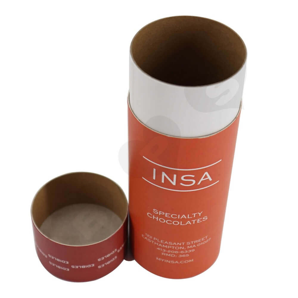 Round Cardboard Tube Cylinder Packaging For Snack Bar Side View Three