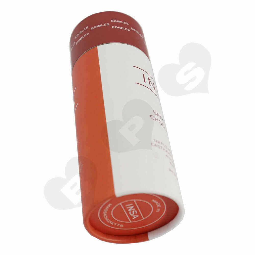 Round Cardboard Tube Cylinder Packaging For Snack Bar Side View Two