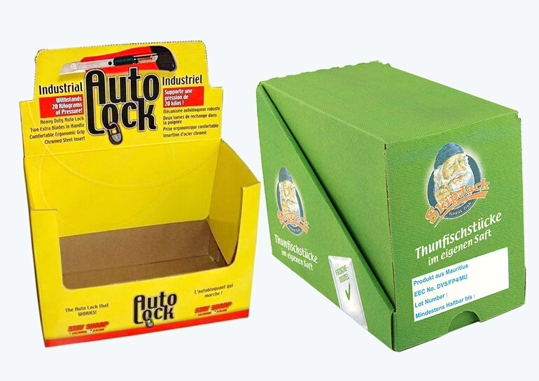Shelf-ready packaging boxes with perforation line