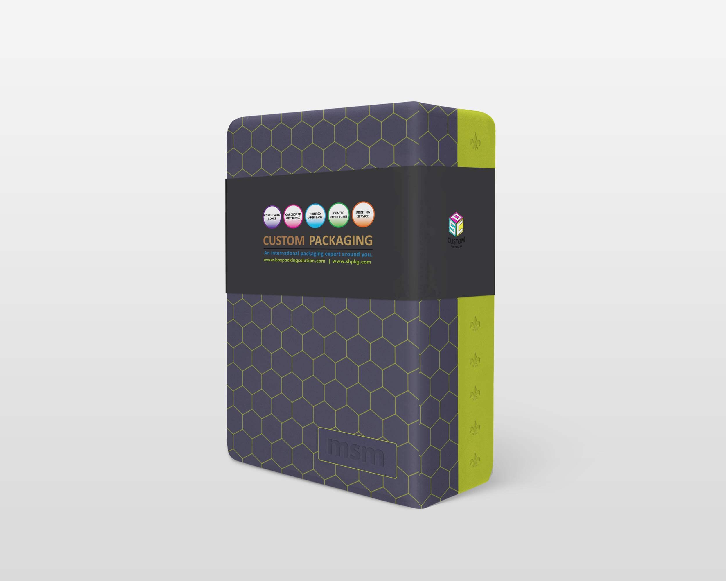 custom rigid setup box mock-up with printed sleeve