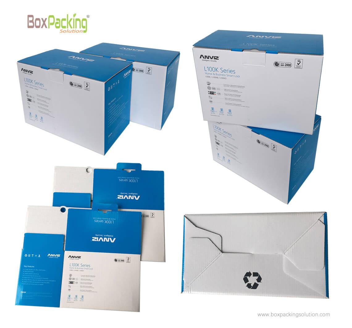 digital device packaging boxes, pantone blue printing.