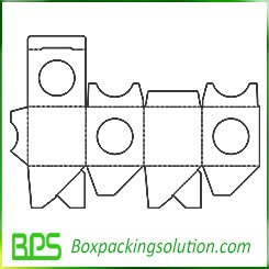 Auto Bottom Packaging box template with window