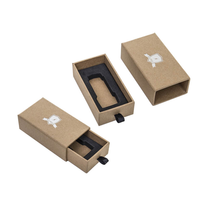 Kraft Paper Made Rigid Cardboard Drawer Box With Screen Printing