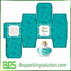 blue perfume bottle packaging box design