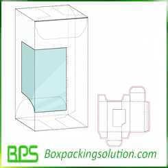 cardboard box with plastic window die cut design