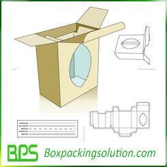 cardboard box with window cutting die-line