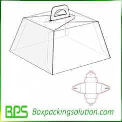 one piece foldable cake boxes design template