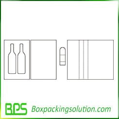 two pack wine bottle packaging box template