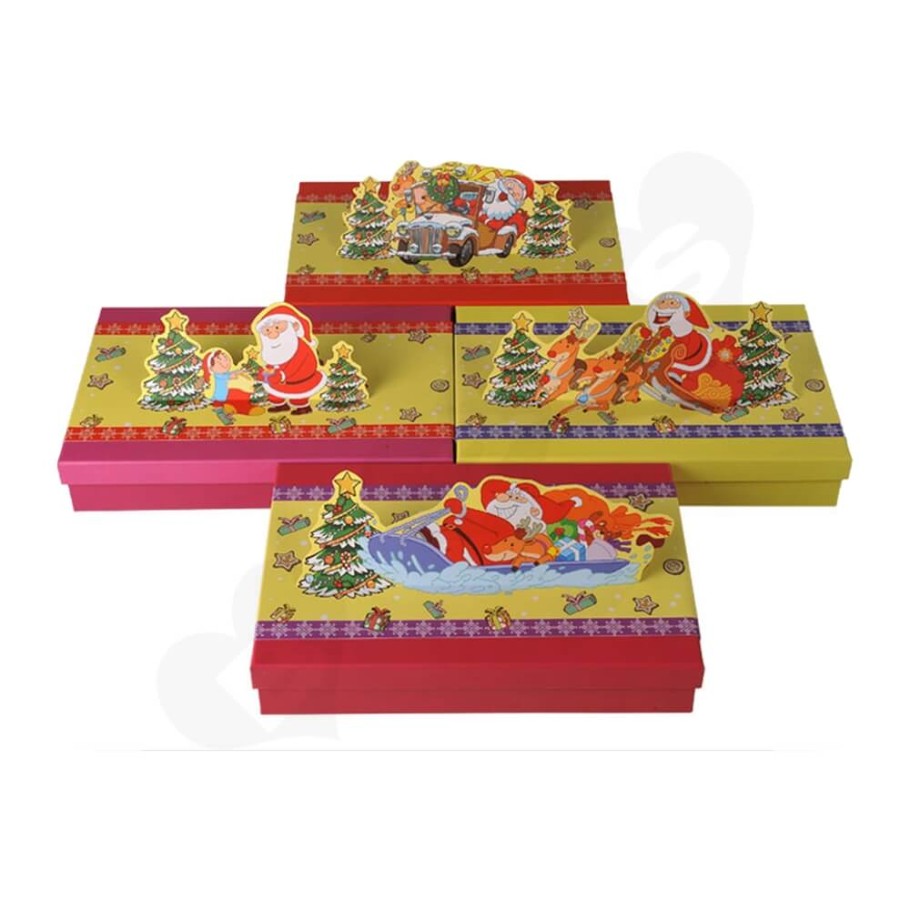 3D Effect Christmas Gift Packaging Gift Box Side View Four