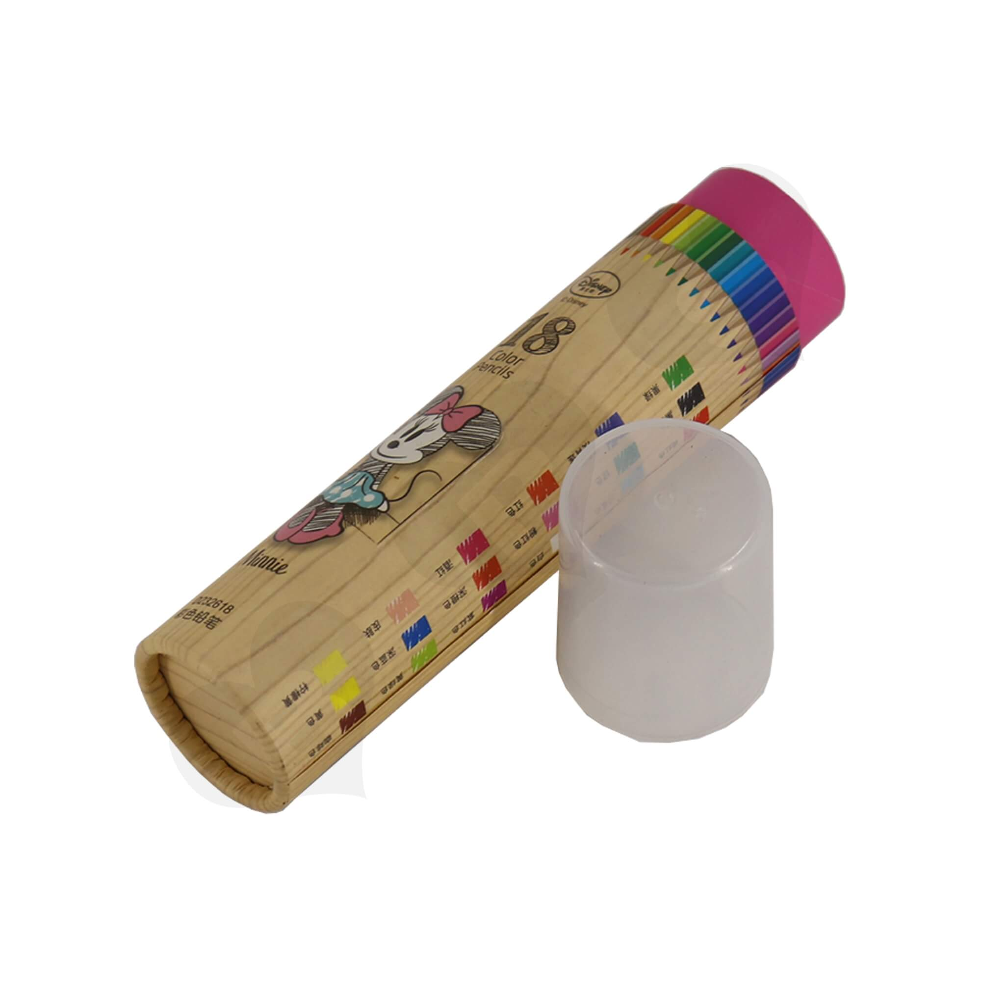 Branded Cardboard Cylinder With Plastic Lid For Packing Color Pencils Side View Four