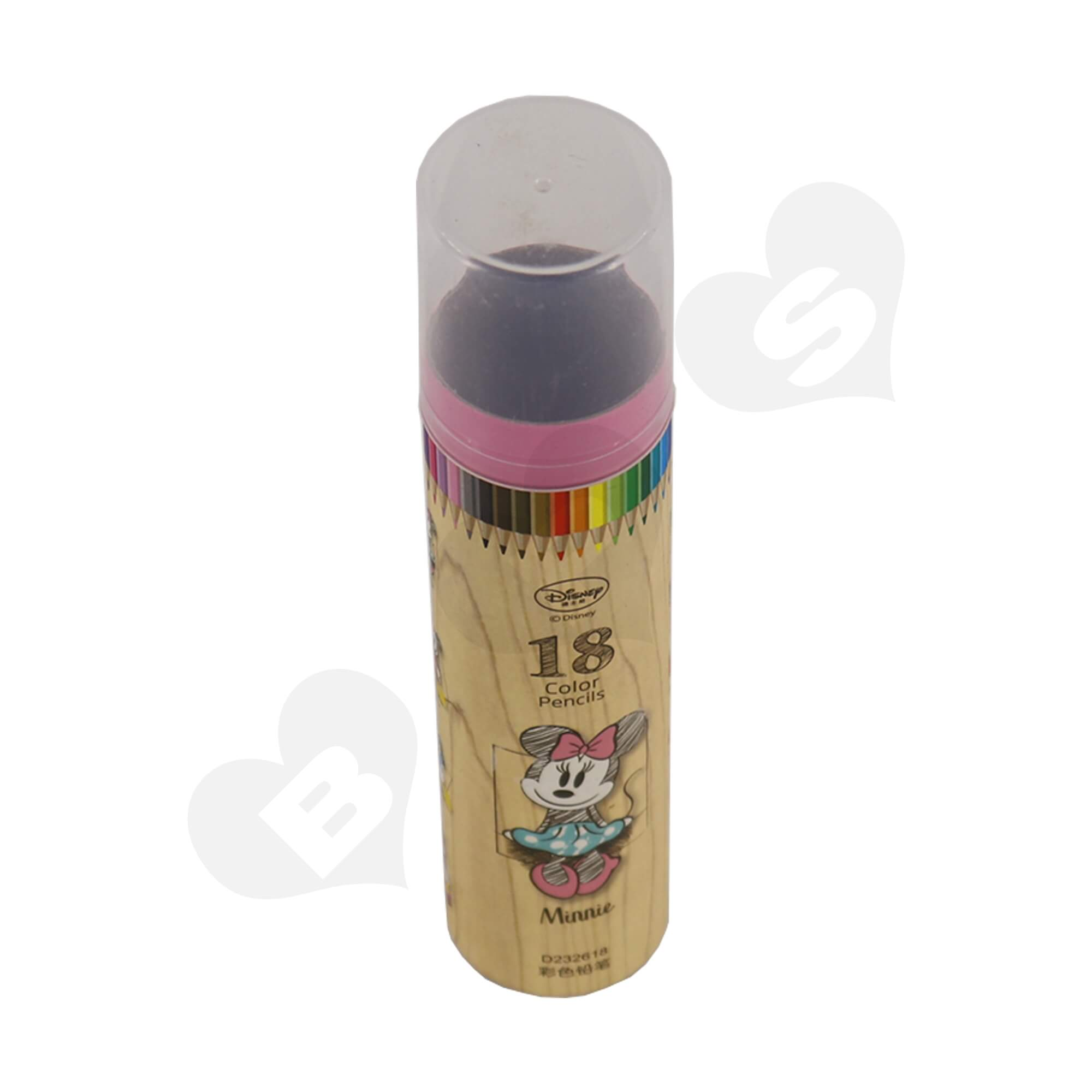 Branded Cardboard Cylinder With Plastic Lid For Packing Color Pencils Side View One