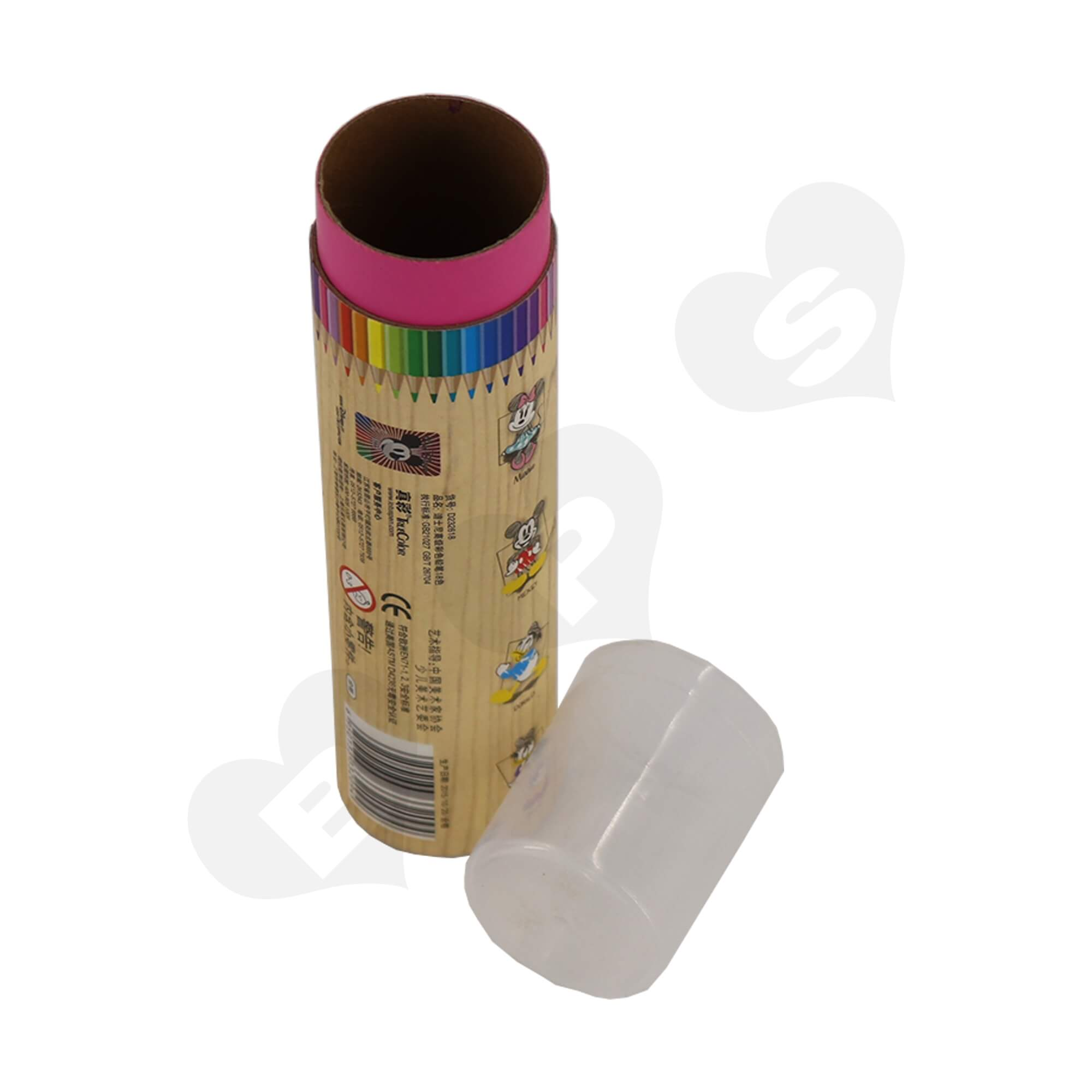 Branded Cardboard Cylinder With Plastic Lid For Packing Color Pencils Side View Three