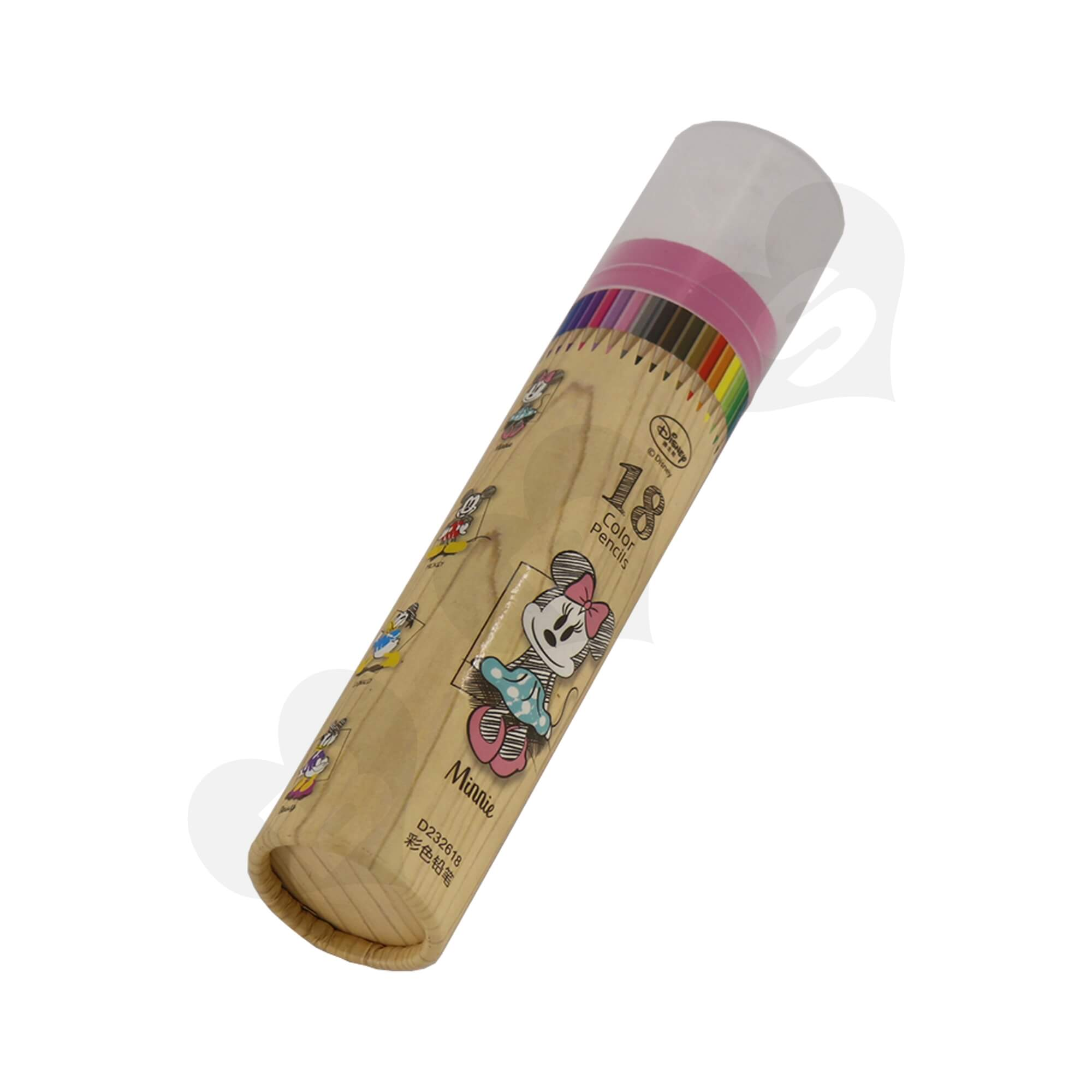 Branded Cardboard Cylinder With Plastic Lid For Packing Color Pencils Side View Two