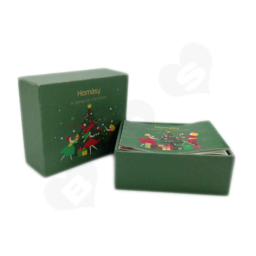 Business Product Packaging Box Printed With Christmas Color Side View One