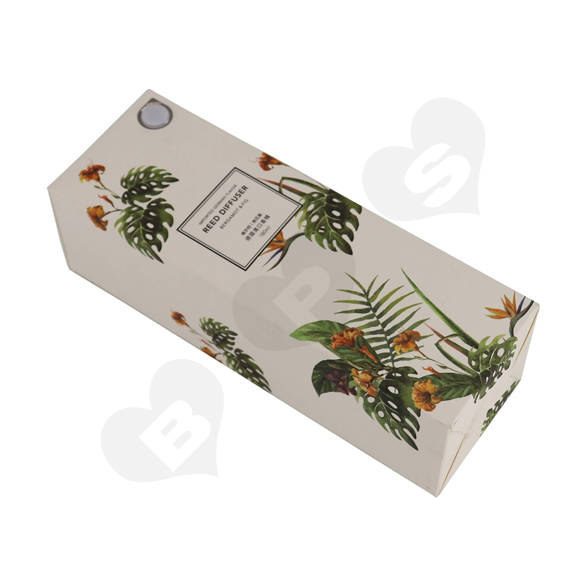 Cardboard Folding Carton For Packing Scent Diffuser With Testing Valve Side View Two