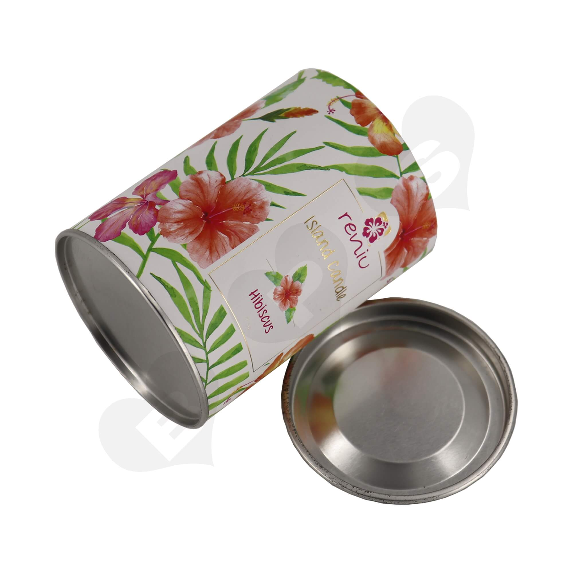 Cardboard Paper Tube With Tin Cap For Packing Scented Candle Side View Four