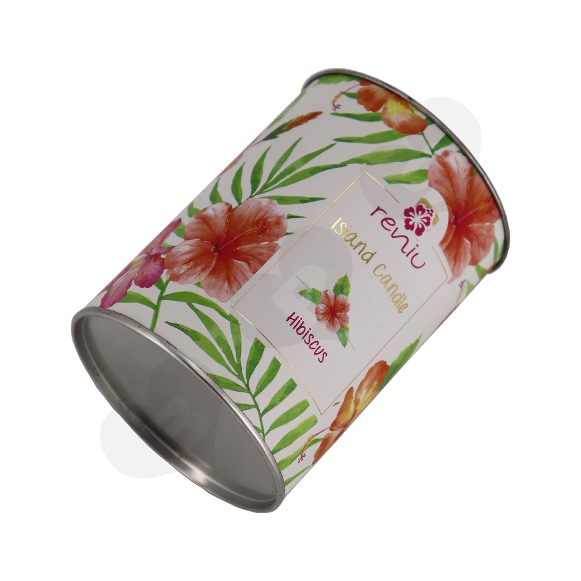 Cardboard Paper Tube With Tin Cap For Packing Scented Candle Side View Three