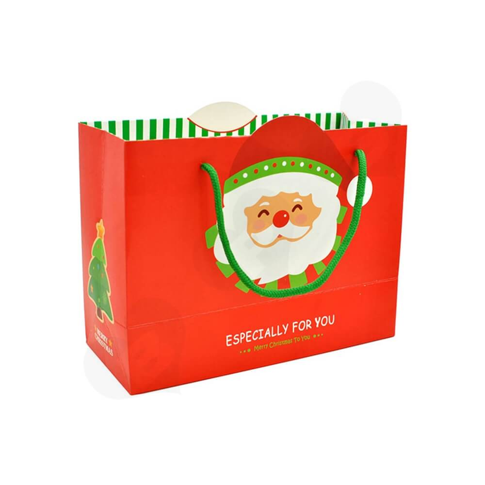 Chrismas Color Printed Paper Bags Side View One