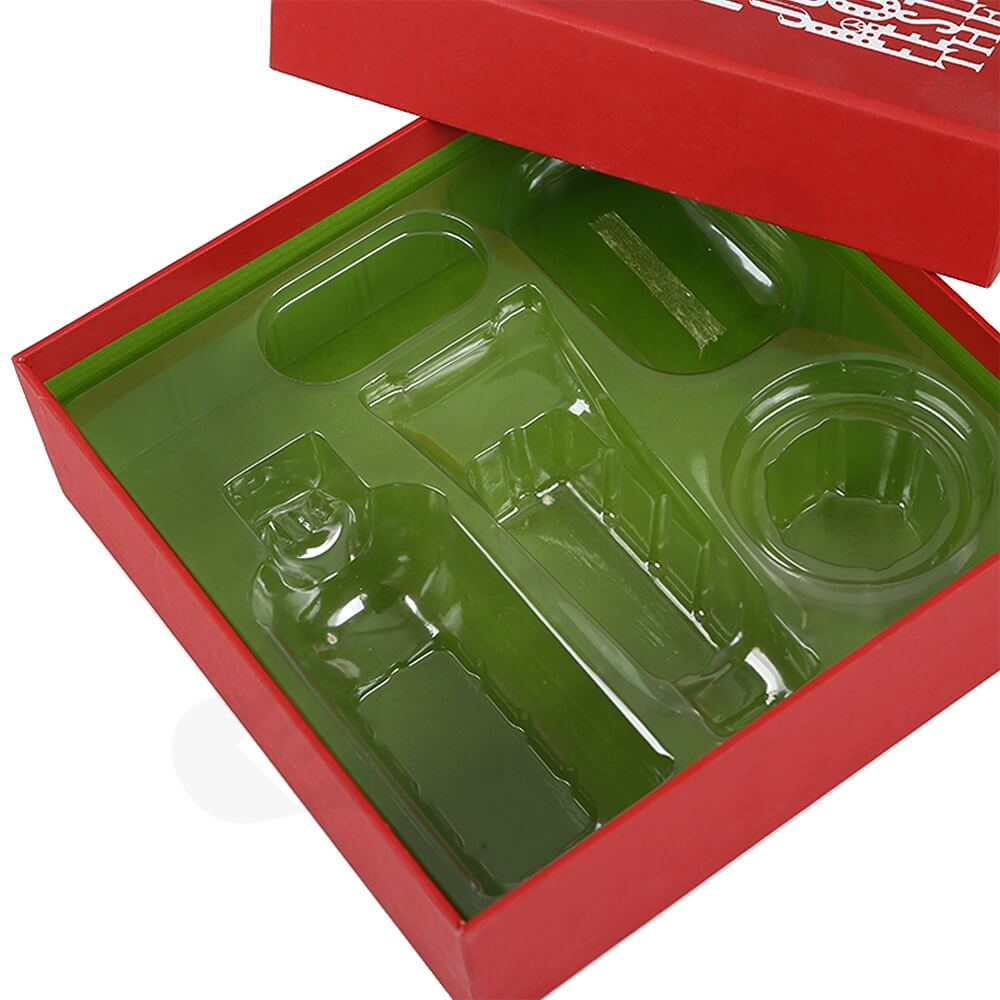 Christmas Color Box For Cosmetic Product With Blister Insert Side View Two
