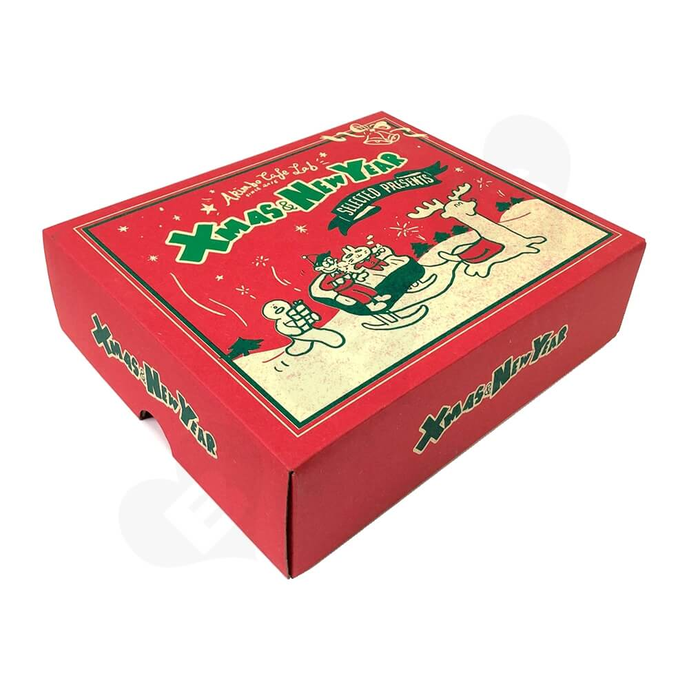Christmas Color Printed Cardboard Gift Box Side View Two