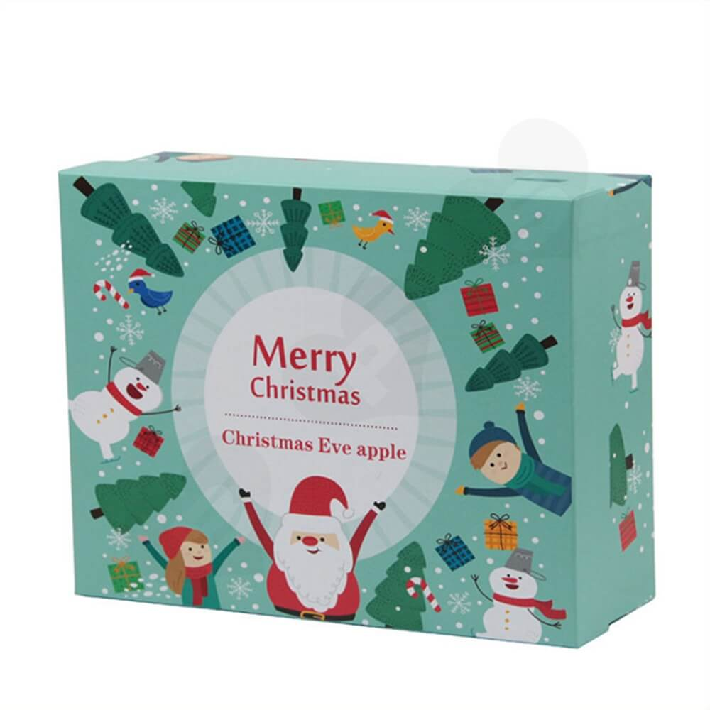 Christmas Eve Apple Gift Packaging Box With Lift Off Lid Side View One