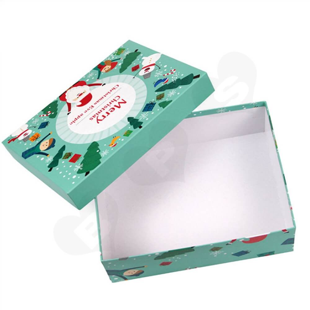 Christmas Eve Apple Gift Packaging Box With Lift Off Lid Side View Three