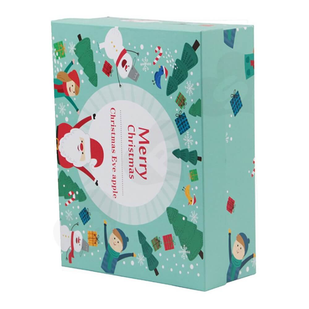Christmas Eve Apple Gift Packaging Box With Lift Off Lid Side View Two