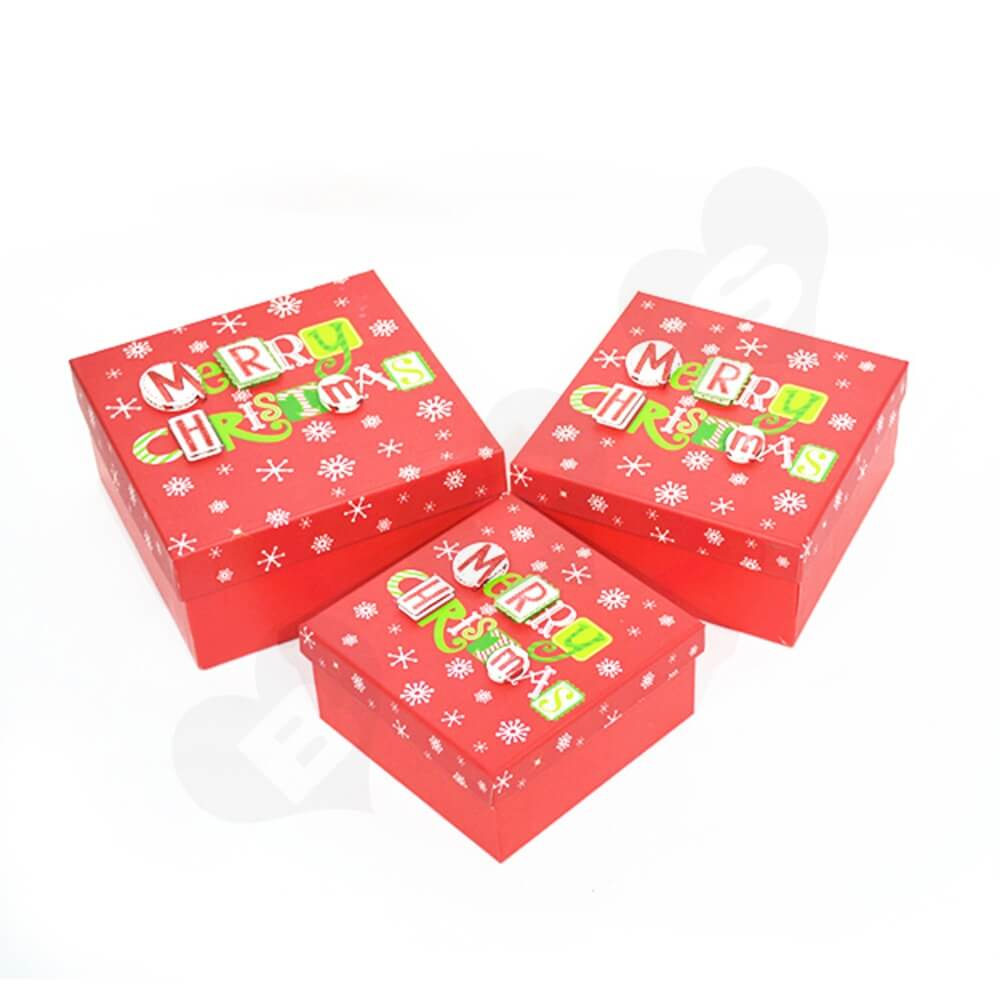 Christmas Gift Box With Detachable Lid Side View One