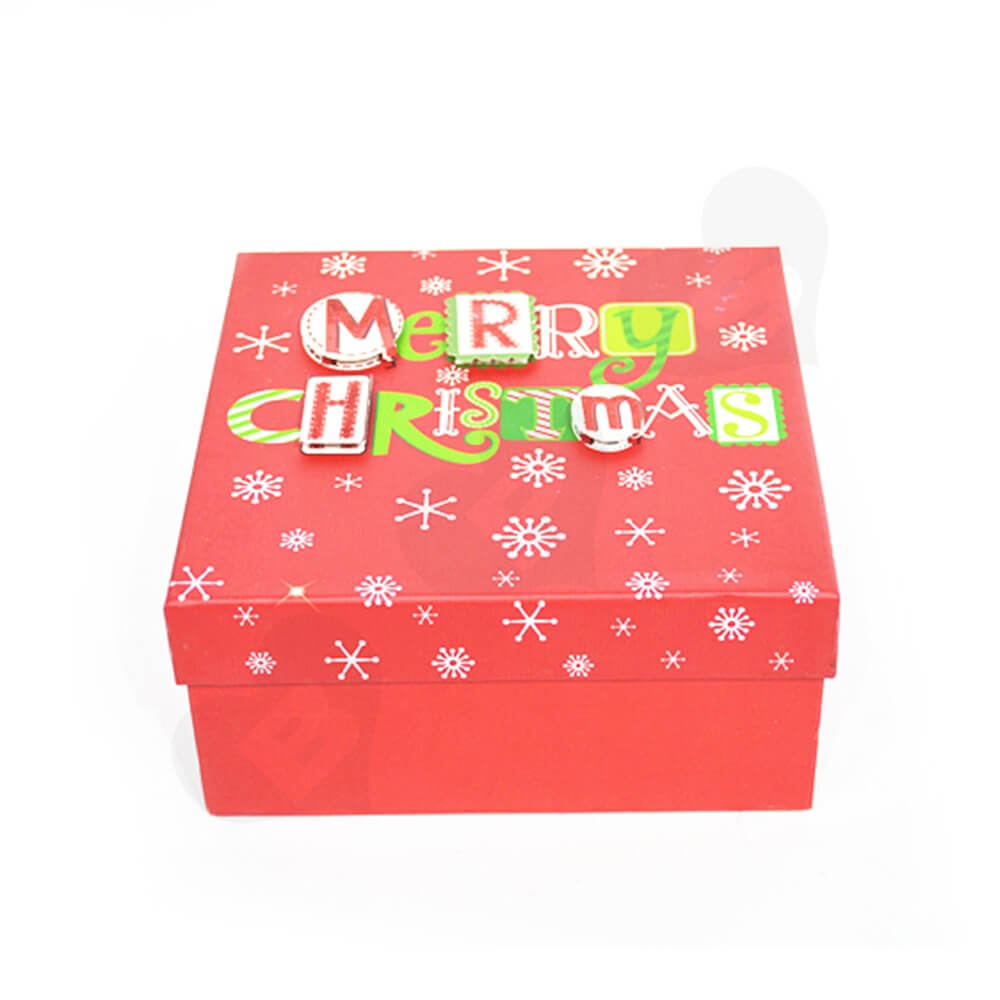 Christmas Gift Box With Detachable Lid Side View Two