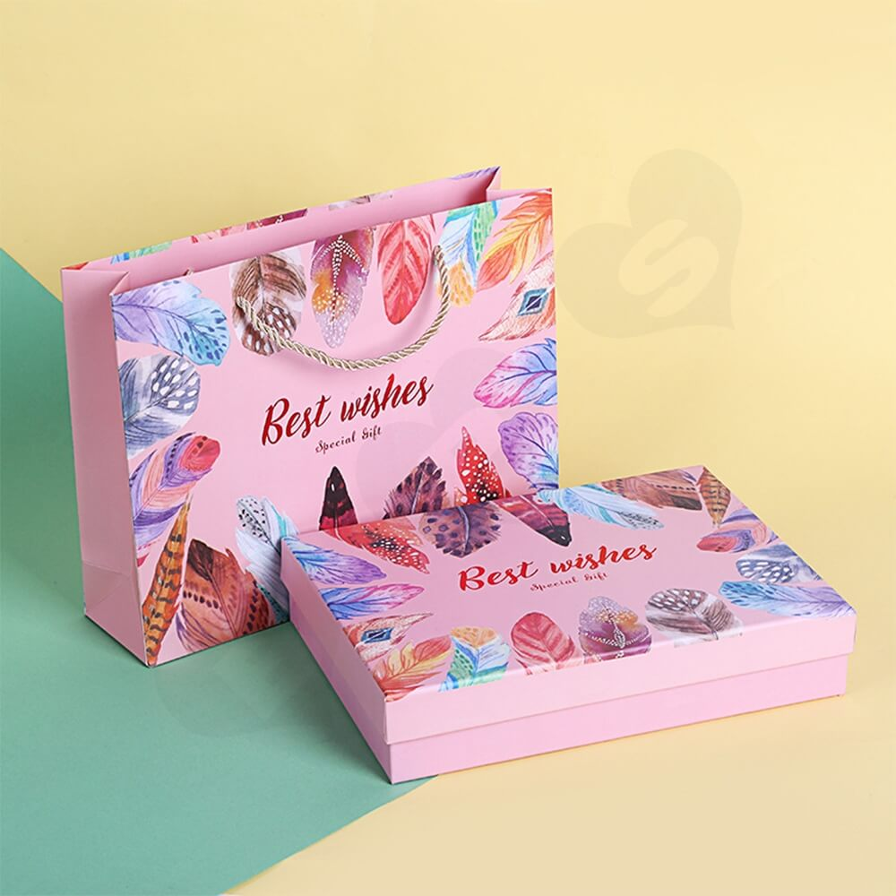 Christmas Gift Packaging Box And Bag Side View Four