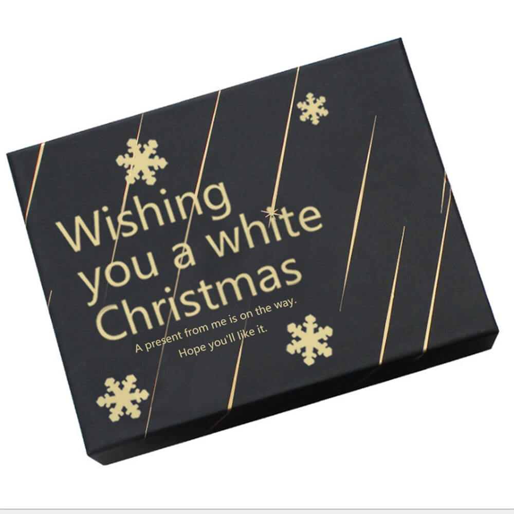 Christmas Gift Shipping Box With Gold Foil Stamping Side View One
