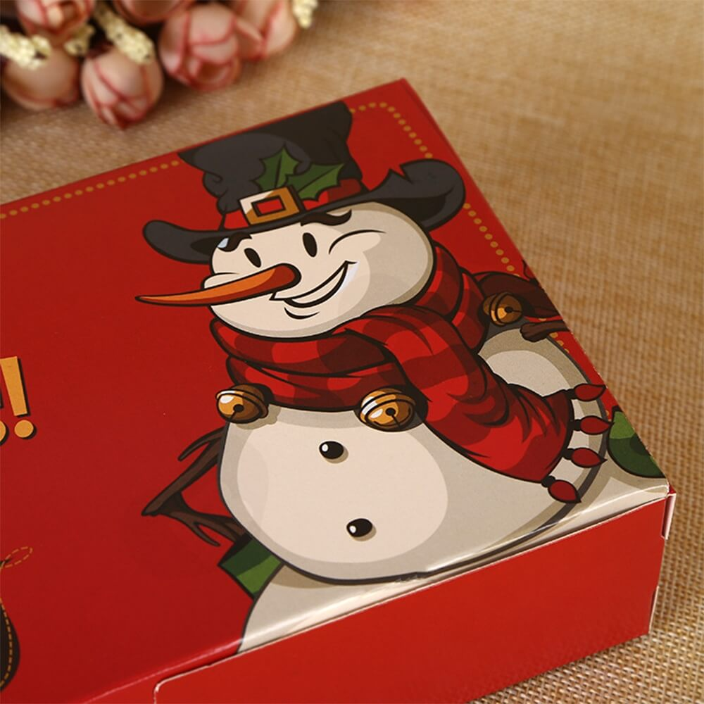 Christmas Red Color Printed Box For Gifts Side View Four