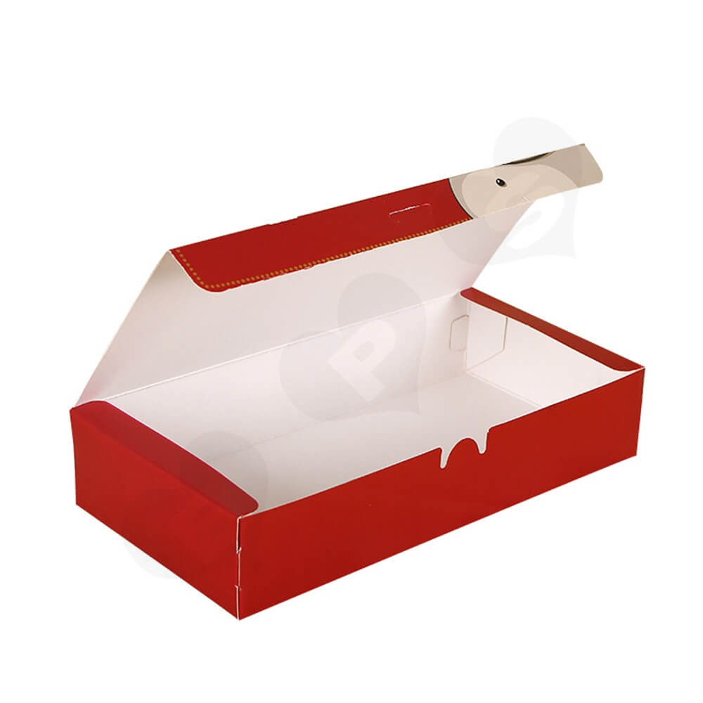 Christmas Red Color Printed Box For Gifts Side View One