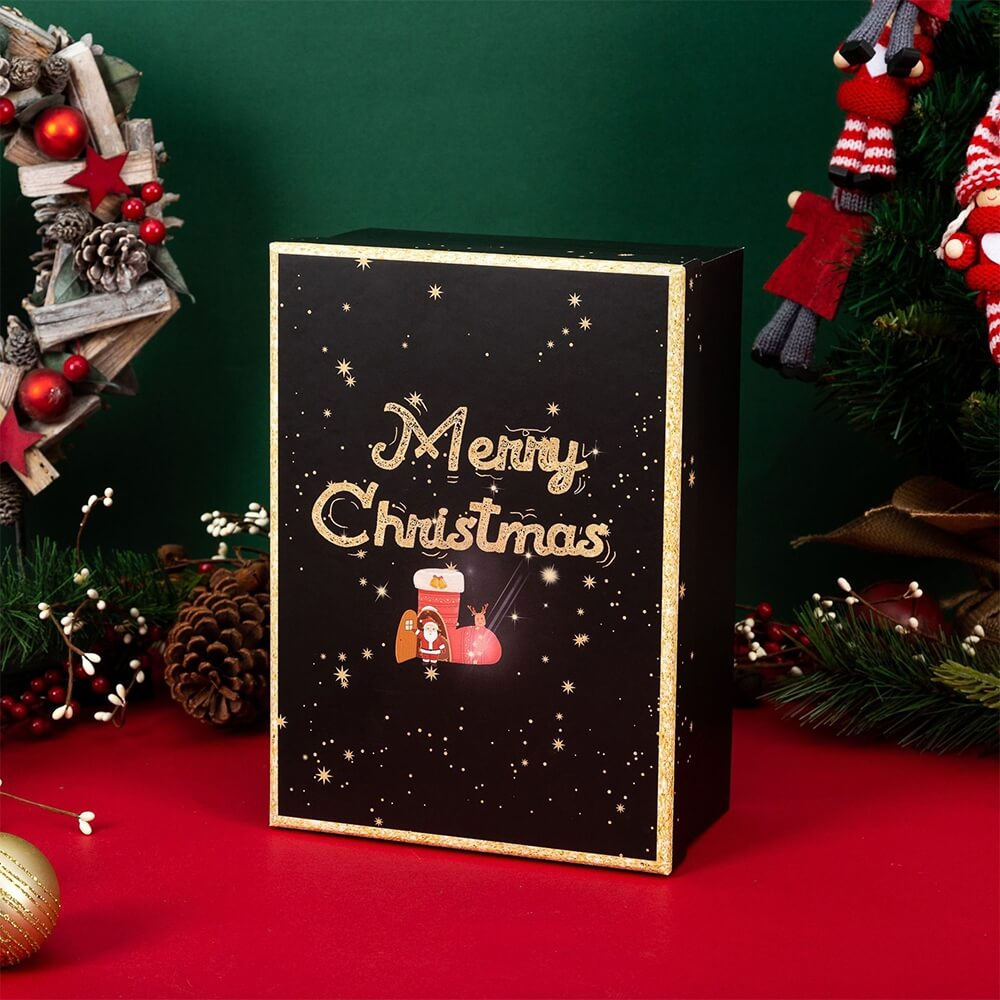 Christmas Season Gift Box With Gold Foil Stamping Side View Four