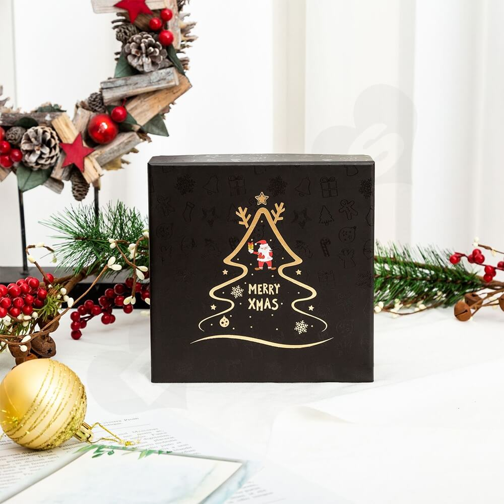 Christmas Season Gift Box With Gold Foil Stamping Side View Seven