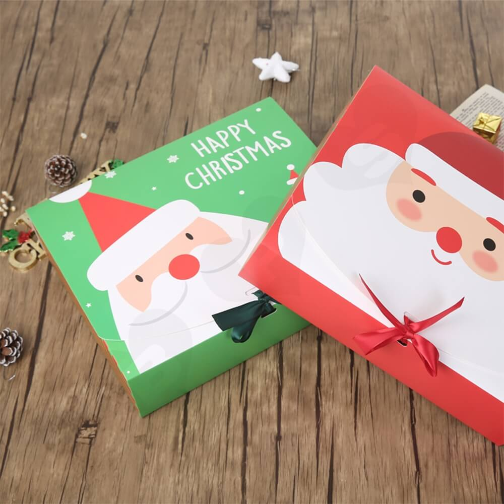 Christmas Style Printing Box With Ribbon Closure Side View Four