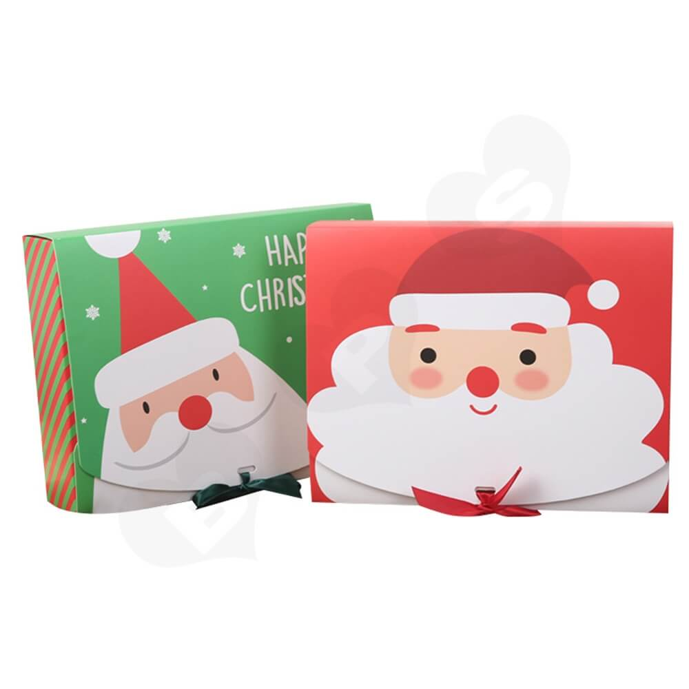 Christmas Style Printing Box With Ribbon Closure Side View One