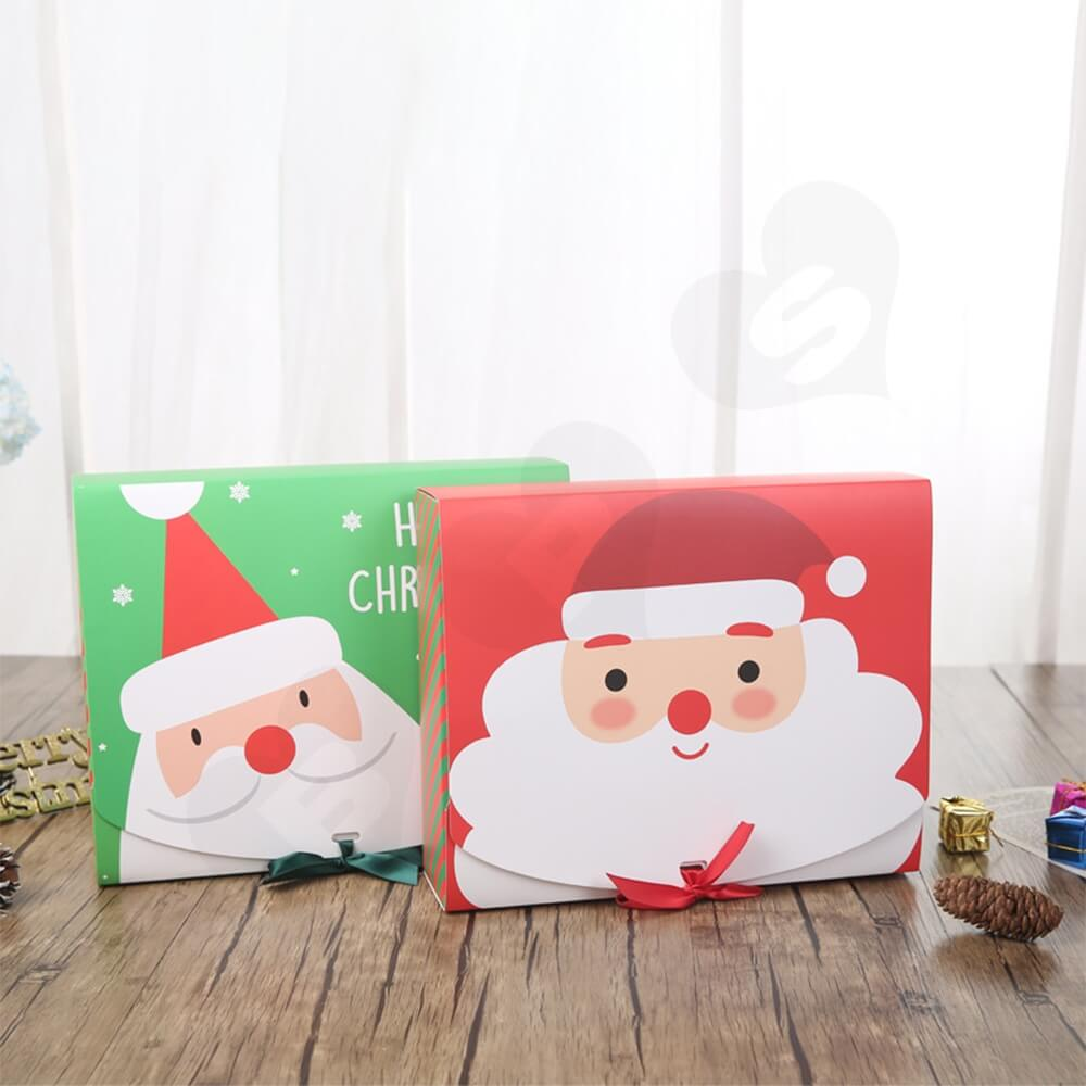 Christmas Style Printing Box With Ribbon Closure Side View Two