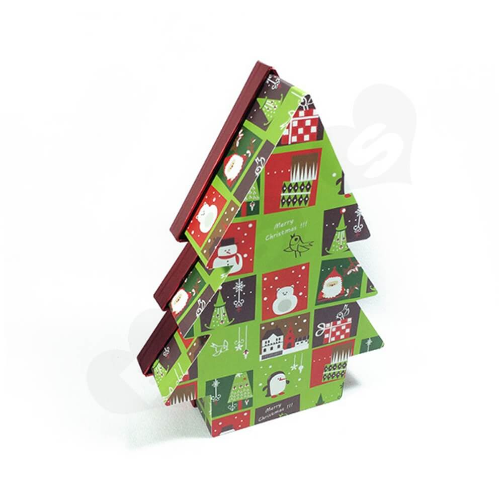 Christmas Tree Shape Rigid Gift Box Customizable Side View Four