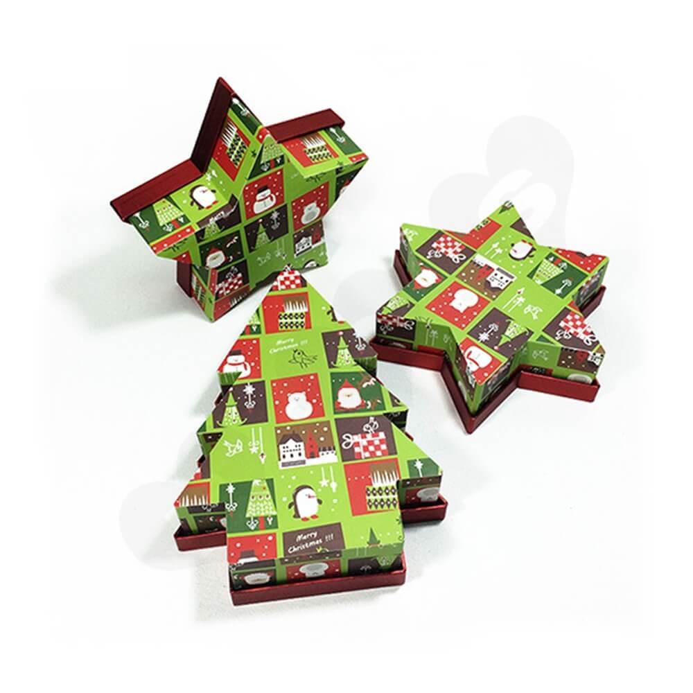 Christmas Tree Shape Rigid Gift Box Customizable Side View One