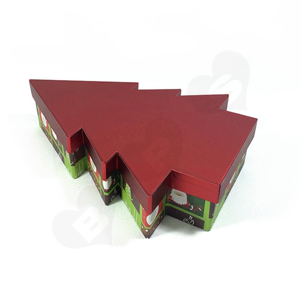 Christmas Tree Shape Rigid Gift Box Customizable Side View Three