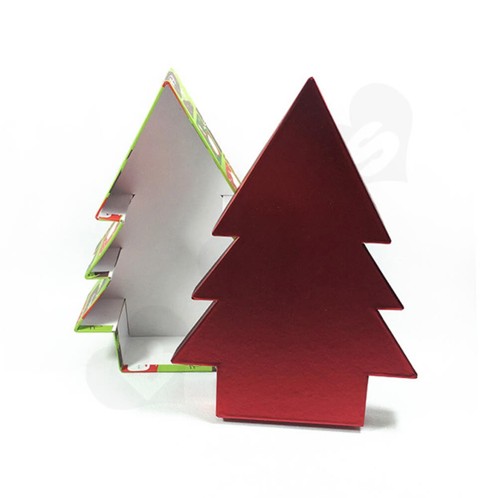 Christmas Tree Shape Rigid Gift Box Customizable Side View Two