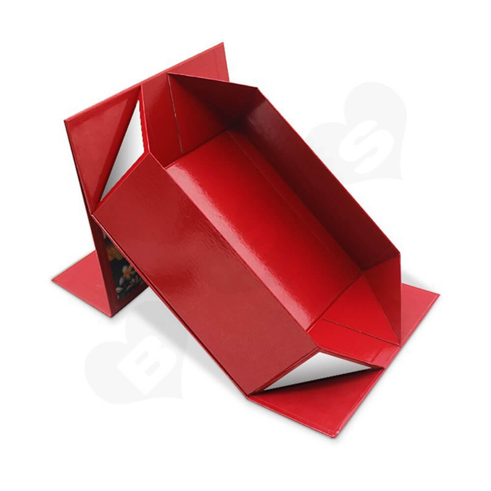 Collapsible Rigid Magnetic Closure Box For Christmas Gifts Side View Three
