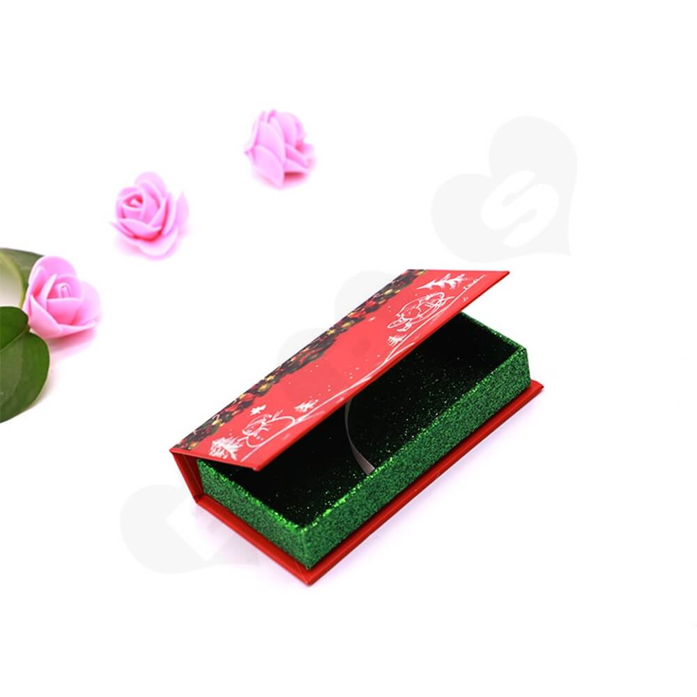 Custom Christmas Color Eyelash Packaging Box Side View Five
